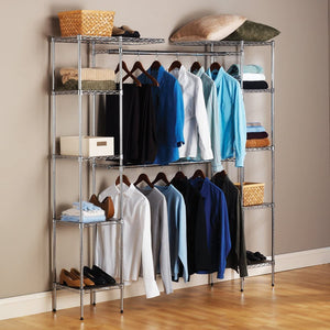 "Seville Classics Double-Rod Expandable Clothes Rack Closet Organizer System, 58"" to 83"" W x 14"" D x 72"", Chrome"