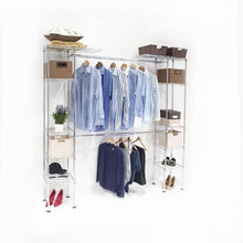 "Load image into Gallery viewer, Seville Classics Double-Rod Expandable Clothes Rack Closet Organizer System, 58"" to 83"" W x 14"" D x 72"", Chrome"