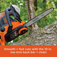Load image into Gallery viewer, BLACK+DECKER 20V MAX Cordless Chainsaw, 10-Inch (LCS1020)