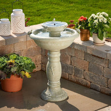 Load image into Gallery viewer, Smart Solar 34222RM1 Gray Weathered Stone Country Gardens 2-Tier Solar-On-Demand Fountain, Designed for Low Maintenance and Requires No Wiring or Operating Costs