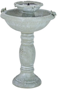 Smart Solar 34222RM1 Gray Weathered Stone Country Gardens 2-Tier Solar-On-Demand Fountain, Designed for Low Maintenance and Requires No Wiring or Operating Costs