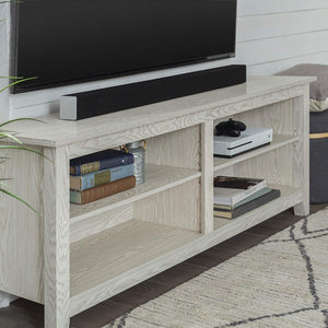 "Walker Edison Furniture Company Minimal Farmhouse Wood Universal Stand for TV's up to 64"" Flat Screen Living Room Storage Shelves Entertainment Center, 58 Inch, White Wash"