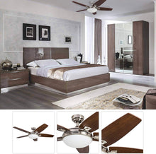 Load image into Gallery viewer, Honeywell Carmel 48-Inch Ceiling Fan with Integrated Light Kit and Remote Control, Five Reversible California Redwood/Mendoza Rosewood Blades, Brushed Nickel