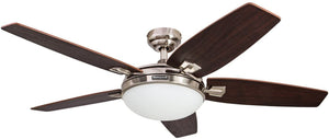 Honeywell Carmel 48-Inch Ceiling Fan with Integrated Light Kit and Remote Control, Five Reversible California Redwood/Mendoza Rosewood Blades, Brushed Nickel