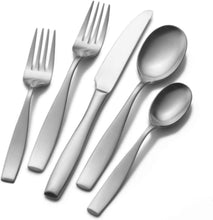 Load image into Gallery viewer, Mikasa 5081298 Satin Loft 65-Piece 18/10 Stainless Steel Flatware Set with Serving Utensil Set, Service for 12