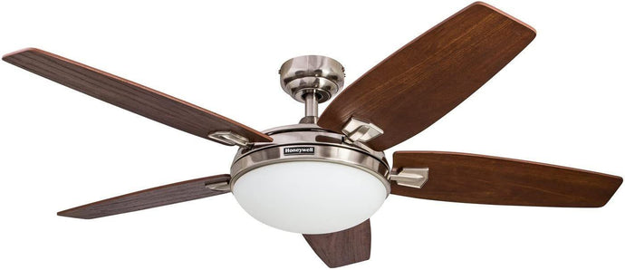 Honeywell Carmel 48-Inch Ceiling Fan with Integrated Light Kit and Remote Control, Five Reversible California Redwood/Mendoza Rosewood Blades, Brushed Nickel (Brushed Nickel)