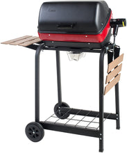 Load image into Gallery viewer, Americana Electric Cart Grill with two folding, composite-wood side tables and wire shelf