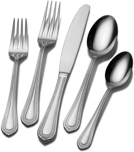 Mikasa 5081086 Regent Bead 65-Piece 18/10 Stainless Steel Flatware Set with Serving Utensil Set, Service for 12
