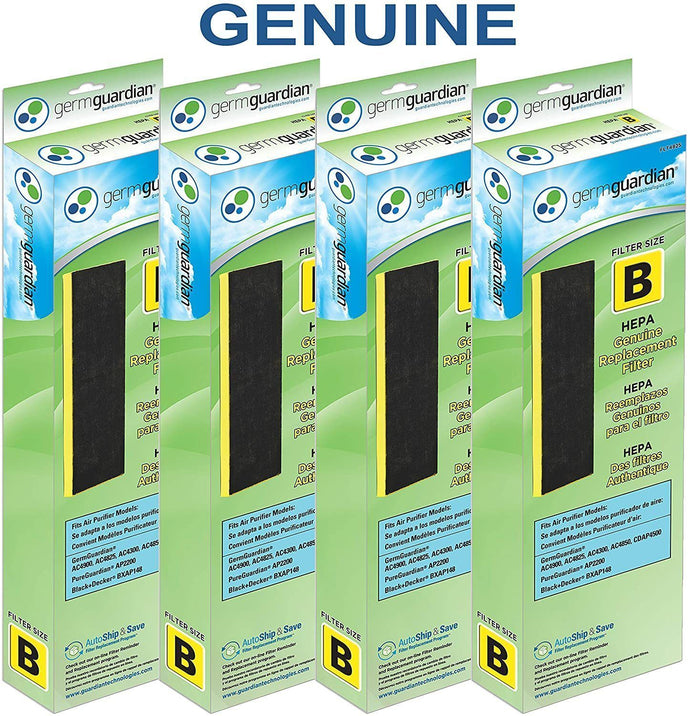 Germ Guardian FLT48254PK True HEPA GENUINE Air Purifier Replacement Filter B Multi-Pack for GermGuardian AC4300BPTCA, AC4900CA, AC4825, AC4825DLX, AC4850PT, CDAP4500BCA, CDAP4500WCA and More, 4-Pack (FLT48254PK)