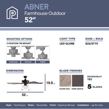 "Load image into Gallery viewer, Prominence Home 80091-01 Abner Vintage Indoor/Outdoor Ceiling Fan, ETL Damp Rated 52"" LED Schoolhouse Edison Bulb, Rustic Farmhouse/Barnwood Blades, Espresso Bronze"