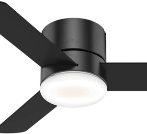 Hunter Indoor Low Profile Ceiling Fan with LED Light and remote control - Minimus 44 inch, Black, 59453