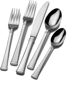 Mikasa 5060761 Harmony 65-Piece 18/10 Stainless Steel Flatware Set with Serving Utensil Set,