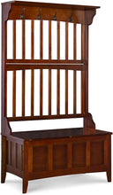 "Load image into Gallery viewer, Linon Hall Tree with Storage Bench, 36""W x 18""D x 64""H, Walnut"