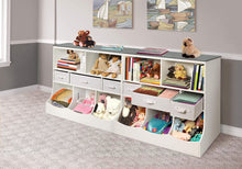 Load image into Gallery viewer, Badger Basket Combo Bin Toy Storage Unit and Book Shelf for Kids with 3 Baskets