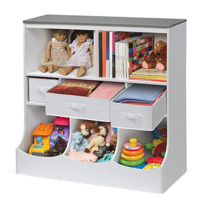 Badger Basket Combo Bin Toy Storage Unit and Book Shelf for Kids with 3 Baskets