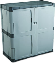 "Load image into Gallery viewer, Rubbermaid Double-Door Storage Cabinet, 18"" D x 36"" W x 37"" H, Gray/Black, FG708500MICHR"