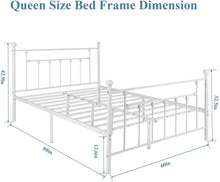 Load image into Gallery viewer, VECELO Queen Size Bed Frame, Metal Platform Mattress Foundation/Box Spring Replacement with Headboard Victorian Style, White