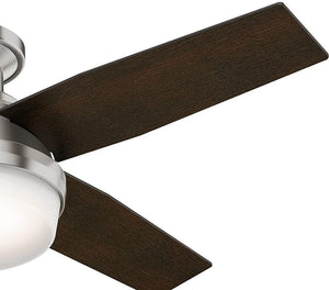 "Hunter Fan Company 59243 Hunter 44"" Dempsey Low Profile Brushed Nickel Ceiling Fan with Light and Remote"