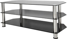 Load image into Gallery viewer, AVF SDC1140-A TV Stand for Up to 55-Inch TVs, Black Glass, Chrome Legs