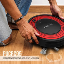Load image into Gallery viewer, Robot Vacuum Cleaner and Dock - 1500pa Suction w/ Scheduling Activation and Charging Dock - Robotic Auto Home Cleaning for Carpet Hardwood Floor Pet Hair & Allergies Friendly - Pure Clean PUCRC95