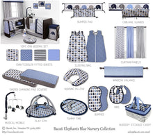 Load image into Gallery viewer, Bacati - Elephants Blue/Grey 10 Pc Boys Crib Baby Bedding Set Including Bumper Pad 100 Percent Cotton.