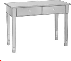 Southern Enterprises Mirrored 2 drawer media console table, Finish w, Silver