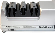 Load image into Gallery viewer, Chef'sChoice 130 Professional Electric Knife Sharpening Station for Straight and Serrated Knives Diamond Abrasives and Precision Angle Guides Made in USA, 3-Stages, Platinum