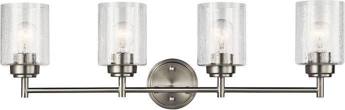 Kichler 45887NI Winslow Vanity, 4-Light 300 Total Watts, Brushed Nickel