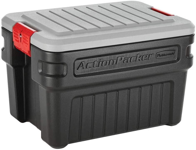 Rubbermaid ActionPacker️ 24 Gal Lockable Storage Bins Pack of 2, Industrial, Rugged Storage Containers with Lids
