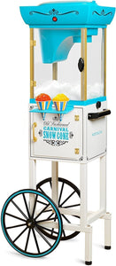 Nostalgia SCC399 Inch Tall Snow Cone Cart, Metal Scoop Makes 48 Icy Treats, Includes Storage Compartment, Wheels For Easy Mobility – White/Blue