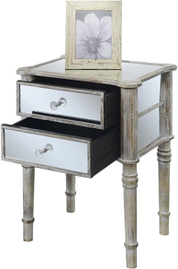 Convenience Concepts Gold Coast Mayfair End Table, Antique Silver / Mirror