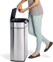 Load image into Gallery viewer, simplehuman 48 Liter / 12.7 Gallon Touch-Bar Dual Compartment Kitchen Recycling Trash Can, Brushed Stainless Steel, 13 Gallon, Fingerabdrucksicherer Edelstahl