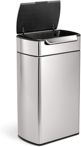 simplehuman 48 Liter / 12.7 Gallon Touch-Bar Dual Compartment Kitchen Recycling Trash Can, Brushed Stainless Steel, 13 Gallon, Fingerabdrucksicherer Edelstahl
