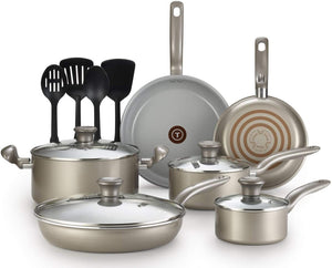 T-fal G919SE64 Initiatives Ceramic Nonstick Dishwasher Safe Toxic Free 14-Piece Cookware Set, Gold - 2100092706