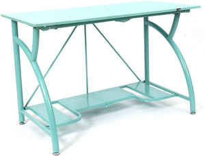 Origami Multi-Purpose fodable Steel frame Table,Sturdy Heavy Duty PC Computer Desk, Fully Assembled Large Craft Desk,Gaming Desk,Storage Space Saving Work Station, Home office,Turquoise RDE-TURQ