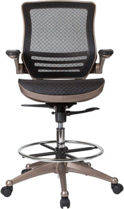 Flash Furniture Drafting Chair | Adjustable Height Mid-Back Mesh Drafting Chair with Arms , Black