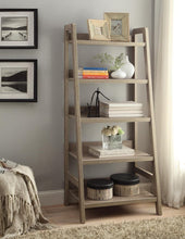 "Load image into Gallery viewer, Linon Tracey Ladder Bookcase, 25""W x 17.99""D X 60""H, Gray Wash"
