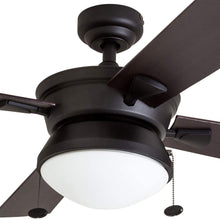 "Load image into Gallery viewer, Prominence Home 50345-01 Auletta Outdoor Ceiling Fan, 52"" ETL Damp Rated 4 Blades, LED Frosted Contemporary Light Fixture, Matte Black"