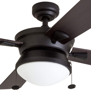 "Prominence Home 50345-01 Auletta Outdoor Ceiling Fan, 52"" ETL Damp Rated 4 Blades, LED Frosted Contemporary Light Fixture, Matte Black"