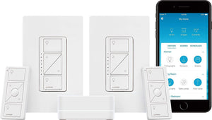 Lutron Caseta Smart Start Kit, Dimmer Switch (2 Count) with Smart Bridge and Pico remotes, Works with Alexa, Apple HomeKit, and the Google Assistant | P-BDG-PKG2W-A | White (Dimmer Deluxe Kit)