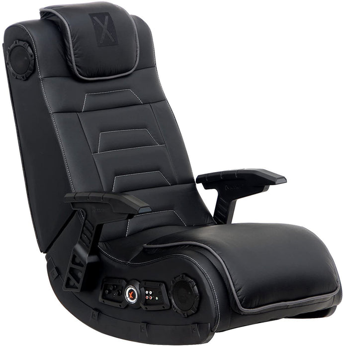 X Rocker Pro Series H3 Black Leather Vibrating Floor Video Gaming Chair with Headrest for Adult, Teen, and Kid Gamers - 4.1 High Tech Audio and Wireless Capacity - Foldable and Ergonomic Back Support