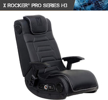 Load image into Gallery viewer, X Rocker Pro Series H3 Black Leather Vibrating Floor Video Gaming Chair with Headrest for Adult, Teen, and Kid Gamers - 4.1 High Tech Audio and Wireless Capacity - Foldable and Ergonomic Back Support