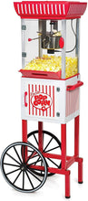 "Load image into Gallery viewer, Nostalgia PC25RW 2.5 oz Popcorn & Concession Cart, 48"" Tall, Makes 10 Cups, with Kernel & Oil Measuring Spoons & Scoop, 13"" Wheels for Easy Mobility, Red/White (Red/ White Concession Cart)"