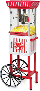"Nostalgia PC25RW 2.5 oz Popcorn & Concession Cart, 48"" Tall, Makes 10 Cups, with Kernel & Oil Measuring Spoons & Scoop, 13"" Wheels for Easy Mobility, Red/White"