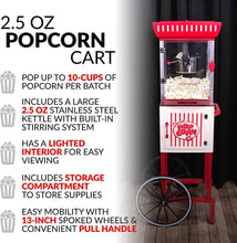 "Load image into Gallery viewer, Nostalgia PC25RW 2.5 oz Popcorn & Concession Cart, 48"" Tall, Makes 10 Cups, with Kernel & Oil Measuring Spoons & Scoop, 13"" Wheels for Easy Mobility, Red/White"