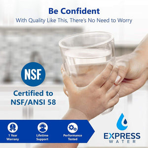 Express Water Reverse Osmosis Water Filtration System – NSF Certified 5 Stage RO Water Filter System with Faucet and Tank – Under Sink Water Filter – plus 4 Replacement Filters – 50 GPD, Model:RO5DX