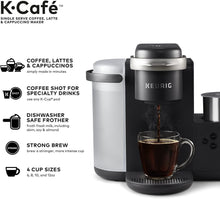 Load image into Gallery viewer, Keurig K-Cafe Coffee Maker, Single Serve K-Cup Pod Coffee, Latte and Cappuccino Maker, Comes with Dishwasher Safe Milk Frother, Coffee Shot Capability, Compatible With all K-Cup Pods, Charcoal