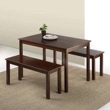 Load image into Gallery viewer, Zinus Juliet Espresso Wood Dining Table with Two Benches / 3 Piece Set