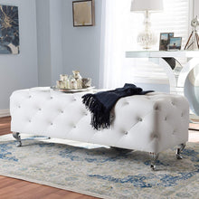 Load image into Gallery viewer, Baxton Studio Stella Crystal Tufted Modern Bench, White, 54(L) X19(W) X19.5(H)