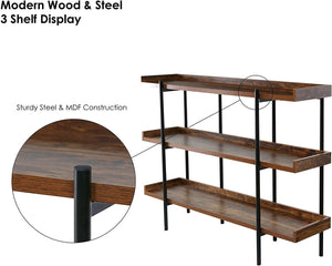 OneSpace Modern Wood and Steel 3-Shelf Display, Cherry